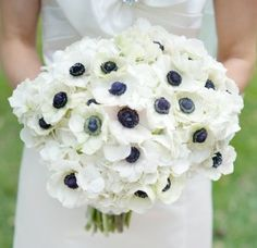 Anemone Flower Bouquet - Navy and White | Navy Wedding Inspiration via http://mavenbride.com