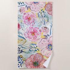 #beachtowel #custom #pretty #vintage #floral #watercolor #beach #towel #summer #giftforher #pink
