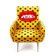 Armchair Shit - Armchair Design: Toiletpaper Magazine Material: Fabric in polyester, Structure in wood, polyurethane and metal Size: cm 70 x 79 h. Estilo Kitsch, Wooden Armchair, Funky Furniture, Graffiti Furniture, Furniture Stores, Furniture Ideas, Unusual Furniture, Velvet Furniture, Furniture Logo