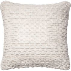Complement country-chic decor or lend a textured touch to your sofa with this wool and cotton pillow, showcasing a woven felted design and crisp white hue...
