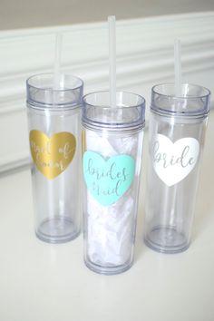 Heart Bridesmaid Skinny Wedding Tumbler - Bride, Maid of Honor, Bachelorette Cup