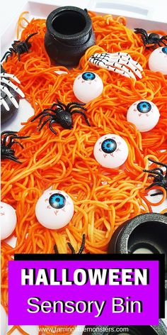 Learn how to make this Halloween themed sensory bin out of rainbow pasta. Turn spaghetti into this taste-safe sensory activity for babies, toddlers and preschoolers.    #halloween #sensory #babies #baby #toddler #preschooler Sensory Bins, Sensory Activities, Infant Activities, Halloween Activities For Kids, Halloween Themes, Rainbow Pasta, Orange Food Coloring, Cute Pumpkin, Kids Hands