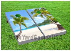 CORNHOLE+BOARDS+with+Bags+Paradise+Island+Margarita+by+lots2ofr2,+$170.00