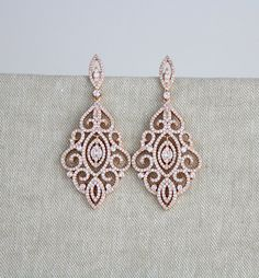 Rose Gold Bridal earrings Crystal Wedding earrings Bridal jewelry Statement Chandelier earrings Vintage style filigree earrings – If I ever get married…… Gold Bridal Earrings, Rose Gold Earrings, Bridesmaid Earrings, Crystal Earrings, Wedding Jewelry, Statement Earrings, Filigree Earrings, Gold Jewelry, Jewellery Box