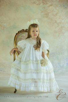 Beautiful Abigail is modeling style 4011WE design by Mela Wilson Heirloom Children's    Clothing.
