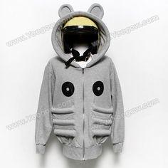 Stylish Panda Pattern Thicken Fleece Long Sleeve Men's Hooded Blouse (GRAY,M), Mens Hoodies - fashiondresswholesale.com