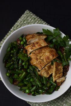 chicken, quinoa, and spring veggie bowls