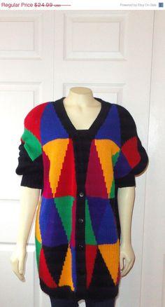 80's Oversized colour block, diamond-graphic cardigan