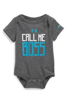 Under Armour 'Call Me Boss' HeatGear® Bodysuit (Baby Boys) available at #Nordstrom