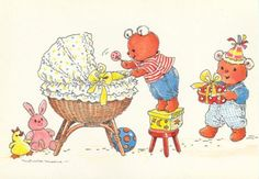 postcard - Monica Maas - 2 teddybears helping with the baby