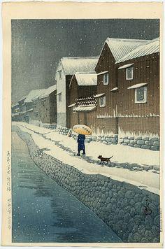 """""""Shinkawa Riverside, Handa, Bishu"""" by Hasui, Kawase"""