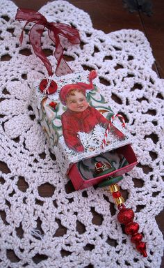 Altered Christmas matchbox by Smifferoo, via Flickr