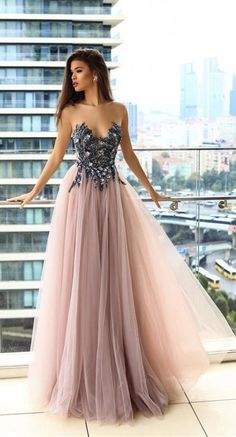 aeaa37903b dramatic illusion neck formal blush prom evening dresses for dancing party  queen