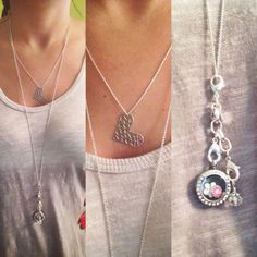 #origamiowl layers. Origami owl chain, locket and dangles.