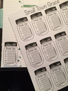 Planner Mason Jar Hydration Stickers Great for by SmallTownGrace