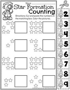 Space Theme Preschool - Planning Playtime - Planning Playtime - Space Theme Preschool - Planning Playtime Number Worksheets for preschool - Preschool Counting Worksheets for a Space Theme - Space Theme Preschool, Space Activities, Numbers Preschool, Preschool Learning, Preschool Activities, Vocabulary Activities, Kindergarten Math Worksheets, Pre K Worksheets, Daycare Curriculum
