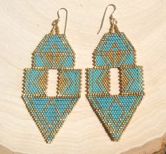 Turquoise and Gold Earrings by wildmintjewelry on Etsy