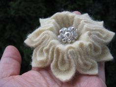 Yellow Felted Flower