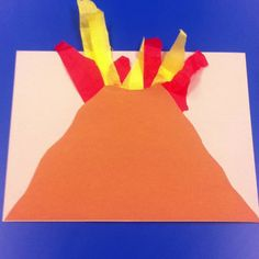 Volcano craft to go along with dads night.  We had the kids tear the paper and the tissue before gluing.  Great for fine motor!  It's was fun seeing all the different shaped volcanoes!