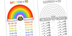 Twinkl Resources >> Rainbow to Ten Display Poster  >> Thousands of printable primary teaching resources for EYFS, KS1, KS2 and beyond! number bonds, number bonds poster, number bonds to ten poster, rainbow number bonds, rainbow addition poster, rainbow,