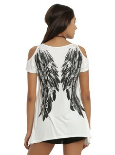 Ivory & Black Angel Wings Cold Shoulder Girls Top | Hot Topic  WE ARE THE FALLEN ANGELS sorry just had to