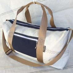 Large Duffel bag constructed from heavy duty re-purposed Dacron sailcloth and your choice of colored canvas. Deluxe Choptank design will fit all your Sailing Outfit, Fabric Bags, Nylon Bag, Summer Bags, Cute Bags, Duffel Bag, Large Bags, Purses And Bags, Leather