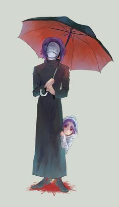 Karren von Rosewald, Kanae, ghoul, umbrella, blood, young, childhood, different ages, time lapse, mask; Tokyo Ghoul