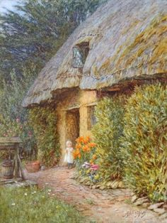 By A Wiltshire Cottage  ~ Helen Allingham ~ (English 1848-1926)
