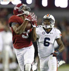 Alabama wide receiver Amari Cooper (9) makes a third quarter touchdown reception against Auburn at Bryant-Denny Stadium in Tuscaloosa, Ala. on Saturday Nov. 29, 2014. Alabama won the game by a score of 55-44. staff photo | Robert Sutton