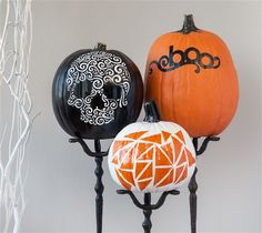 """Decorative Pumpkins Add modern pumpkins to your Halloween decor with a little spray paint! This project includes the images for the """"boo"""" and geometric designed pumpkin from the Cricut® Holiday Cakes and Geometric Necklace digital cartridges - all included in the Cricut® subscription xoxo, Anna Rose DIY, created with a Cricut Expolore, creative cards, personal touch, handmade"""