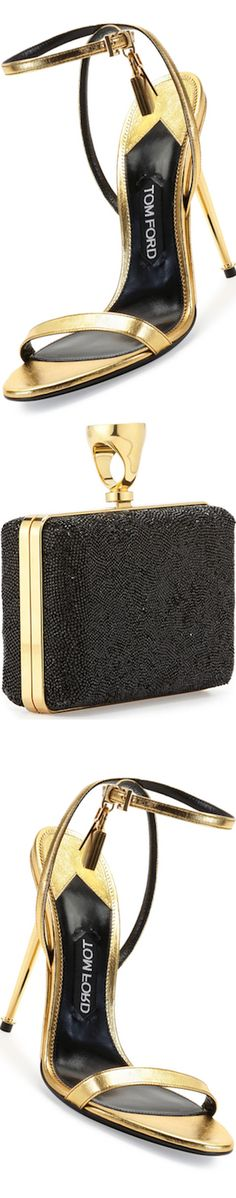 TOM FORD Metallic Ankle-Lock Sandal, Gold and Micro-Crystal Ring-Lock Box Clutch Bag