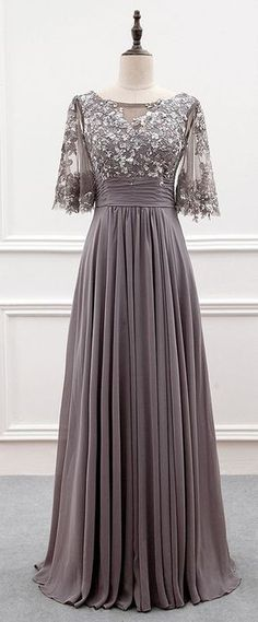 Wonderful Tulle & Chiffon Bateau Neckline A-line Mother Of The Bride Dress With Sequin Lace Appliques