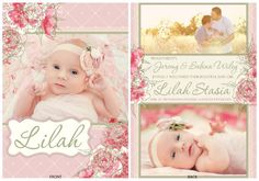 Printable Blush Pink Green & White Ivory Flower Floral Lace Vintage Baby Girl Birth Announcement