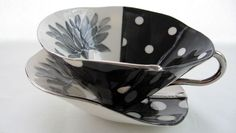 Photo: Black & White Polkadot Cup and Saucer from Stef Storey