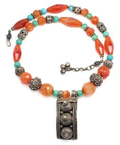 Vintage Bedouin necklace, made of vintage carnelian and turquoise beads and vintage Egyptian silver.