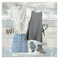 """""""Untitled #28"""" by elynxu ❤ liked on Polyvore featuring WallPops, Chicwish, Miss Selfridge, RumbaTime, Boohoo, Clare V. and Timberland"""