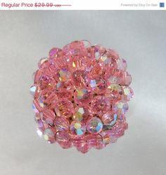 FALL SALE Vintage Pink Crystal 1950s Brooch  Austrian by waalaa, $25.49