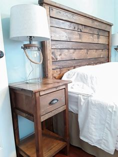 DIY rustic wood headboard and nightstand