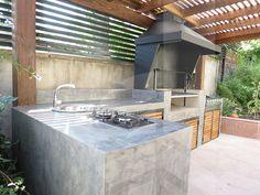 Imagen relacionada Outdoor Rooms, Outdoor Living, Outdoor Decor, Pergola Patio, Backyard, Parrilla Exterior, Barbecue Design, Townhouse Garden, Bbq Area