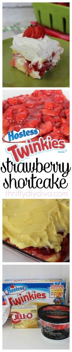 No Bake Twinkies Strawberry Pudding Shortcake recipe - perfect for parties and potlucks! by kathie