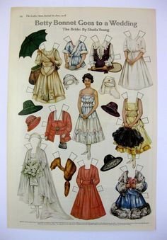 This is an original page from a June 1918 Ladies Home Journal Magazine. It features cut out paper dolls for the Betty Bonnet's paper doll series. Magazine paper doll cut outs were popular during this era and very collectable.   eBay!