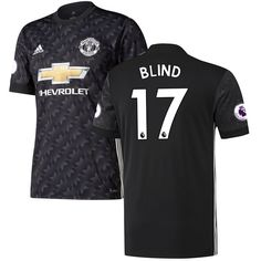 Daley Blind Manchester United adidas 2017/18 Away Replica Jersey - Black