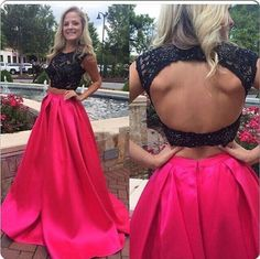 Newest Two Pieces Prom Dresses,Black Lace Beading Waist And Red Satin Dresses,Sexy Evening Dresses,Backless Prom Dress,Evening Gowns,Prom Gowns from 21weddingdresses