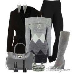 Black jacket, leggings, sweater & gray boots.