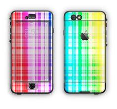 The Bright Rainbow Plaid Pattern Apple iPhone 6 LifeProof Nuud Case Skin Set