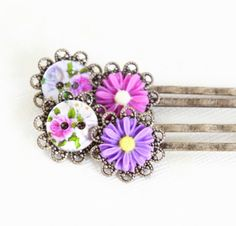 Flower Hair Pins  Pinks and Purples  Set of by JacarandaDesigns
