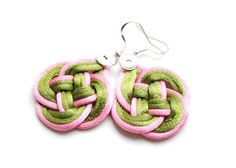 Green and pink double coin knotted rattail by elfinadesign