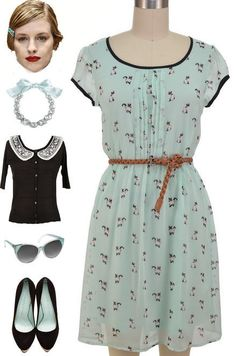 Vintage Inspired Mint SIAMESE CAT Kitten Print Belted Day Dress w/ PLEAT Details #PrivateManufacturer #Sundress #Casual