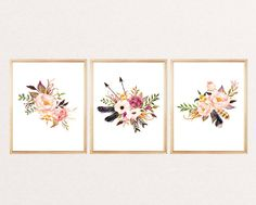 Set of 3 floral print, watercolor print flowers arrows feathers, floral watercolor, art print, wall art print, printable,  watercolor poster by artprintbeauty on Etsy https://www.etsy.com/listing/454766036/set-of-3-floral-print-watercolor-print