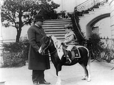 This is Pres. Theodore Roosevelt's youngest son, Quentin on his pony Algonquin at the White House in 1905. Tragically, Quentin was killed when his plane was shot down during World War I.  A street on Naval Air Station North Island (military base known as the BIRTHPLACE OF NAVAL AVIATION) is named after Quentin Roosevelt.